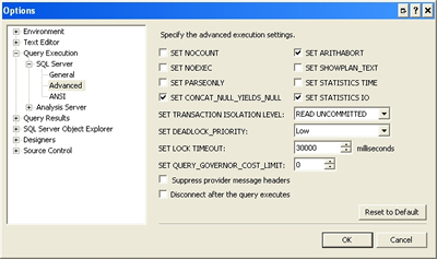Query Execution Settings