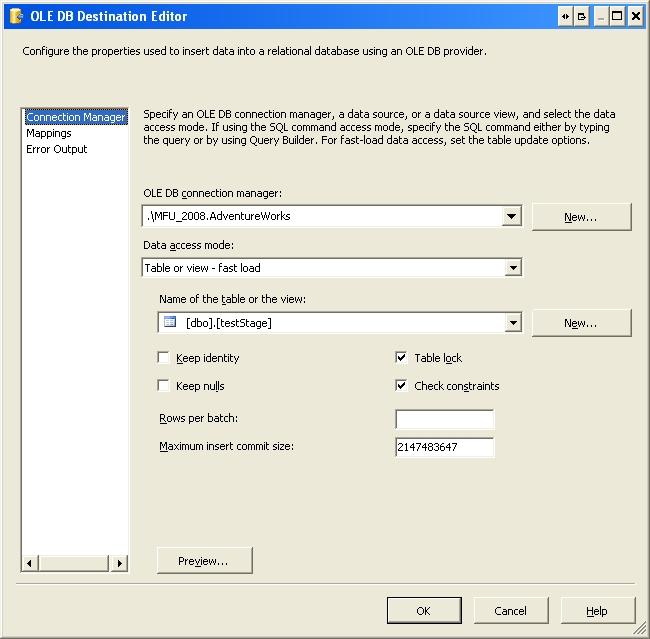 Configure OLE DB Destination